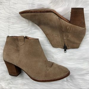 Madewell Billie Suede Taupe Leather Booties